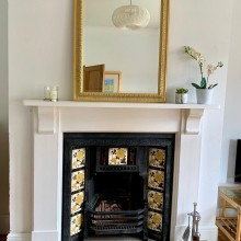 Victorian Cast iron tiled fire insert , corbel surround and marble hearth