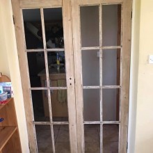 Rejuvenated pine french doors