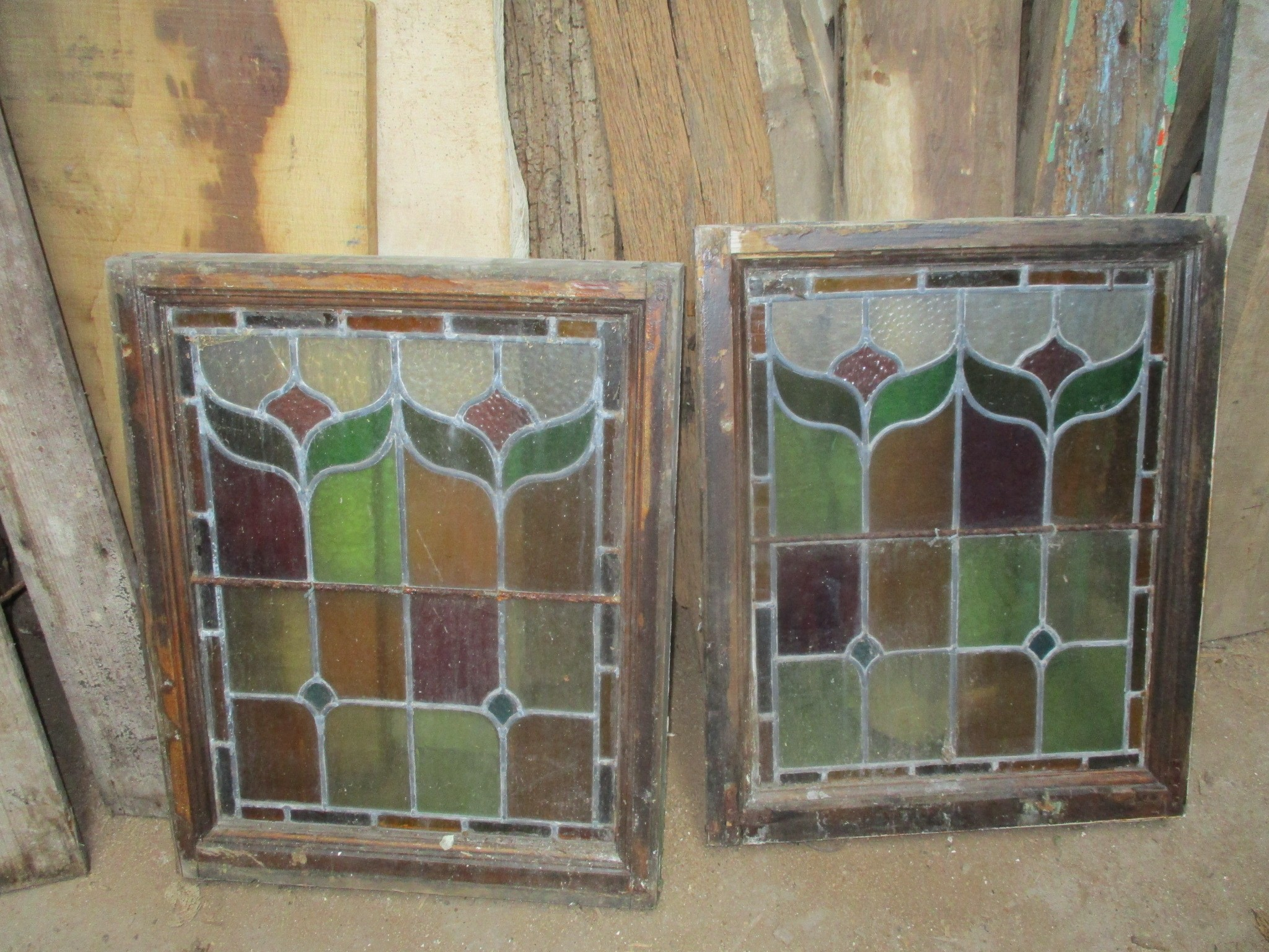 Pair of coloured and leaded casement windows 21