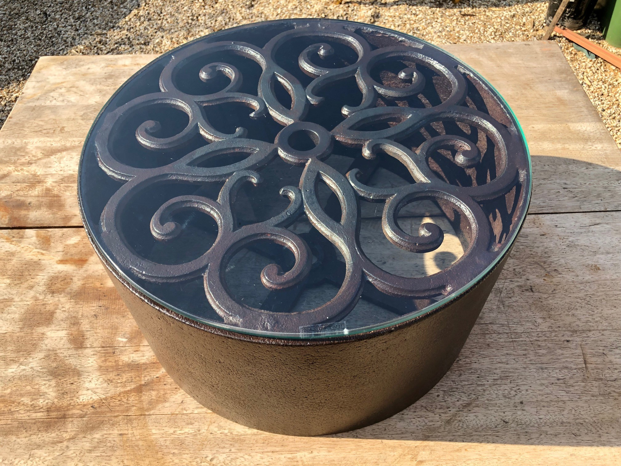 decorative cast iron roller & glass occasional tables - pair available