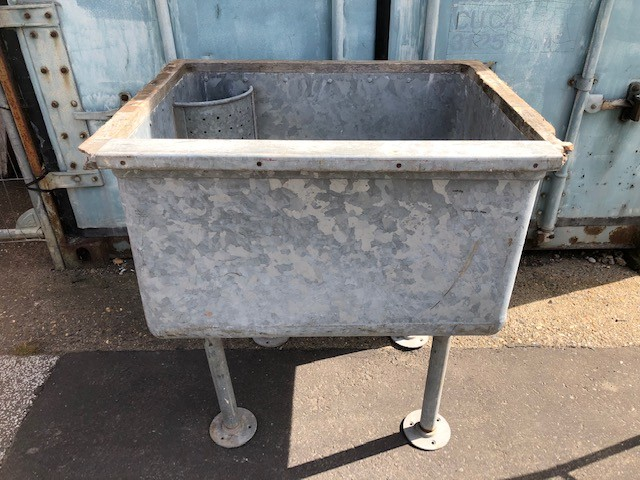 Sink - large galvanised on legs