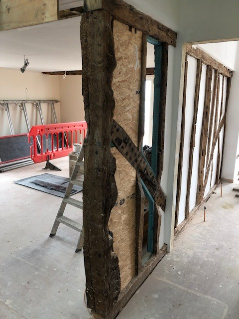 Oak Beams into Quay House , Orford.