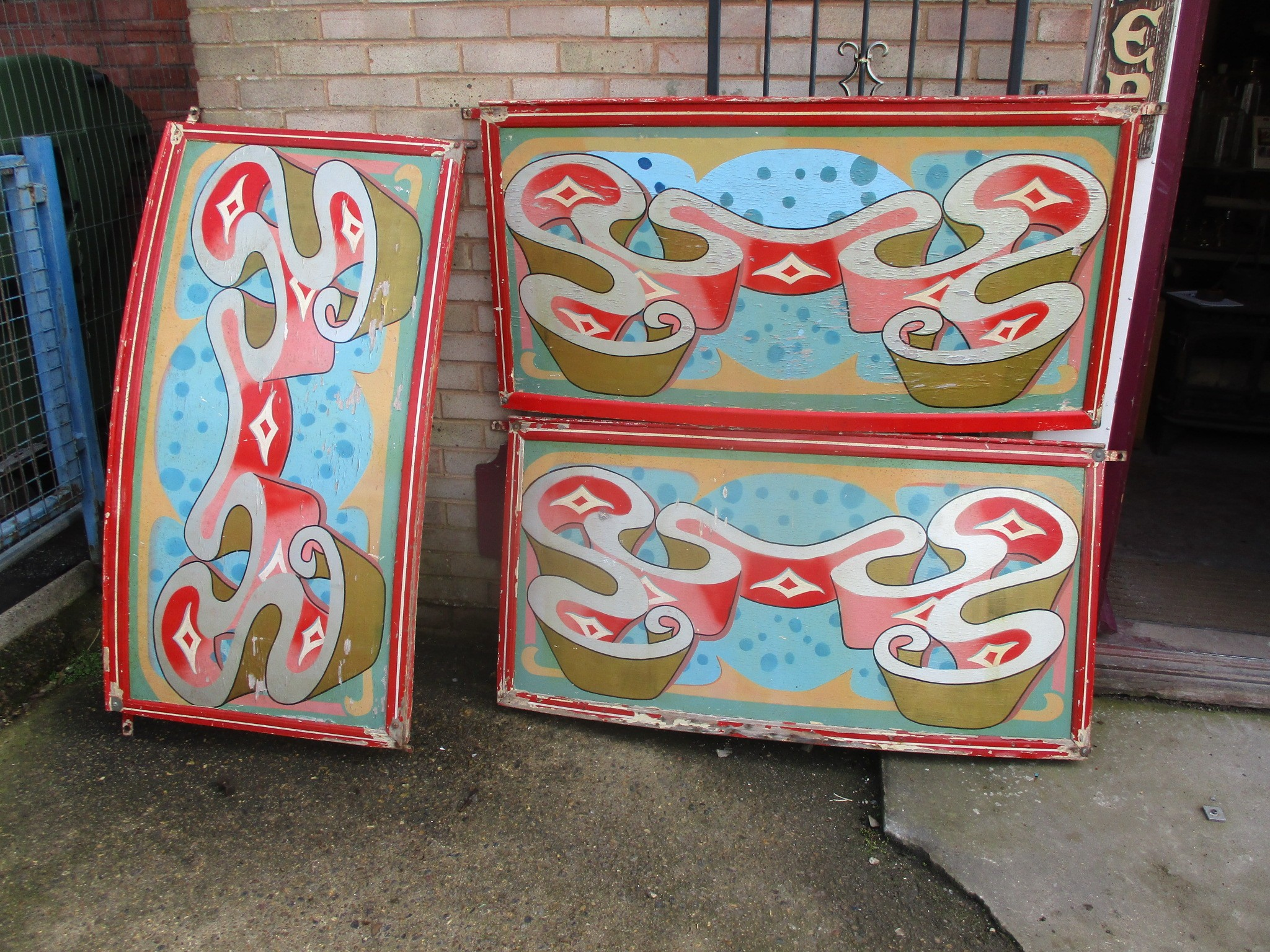 Base panels - Curved hand painted , oil on ply set of 3