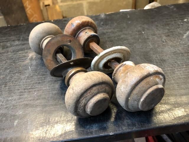 Door handles - period wooden.
