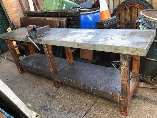 Workbench - solid wood with Record No5 Vice , metal clad.