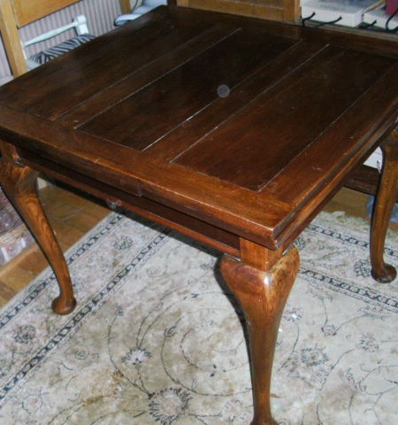 Elm dining table with extending leaves
