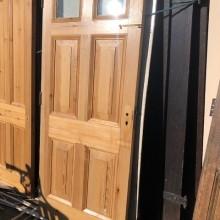 6-panel Pine part glazed door