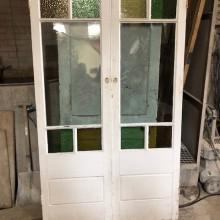 Glazed coloured glass french doors - 23