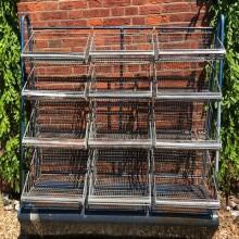 Storage Rack - metal industrial look 12x wire baskets.