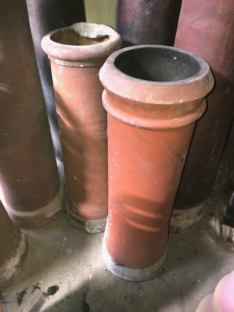 3ft tall round red chimney pot - cannon top