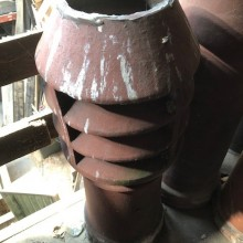 40inch Tall Round red chimney pot - Louvre top