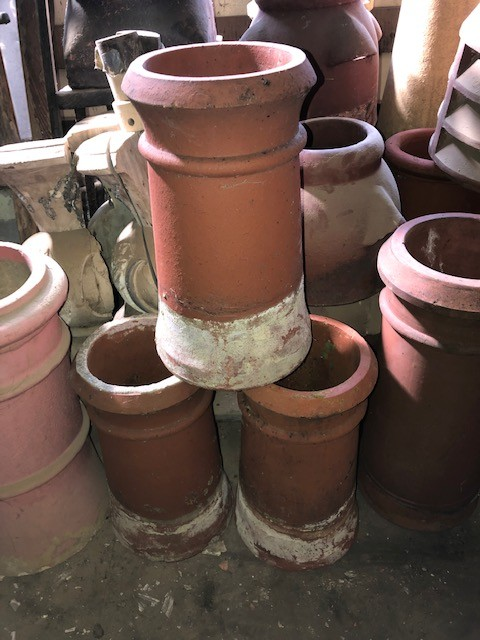 18inch round red chimney pots - cannon top - set 3 avail
