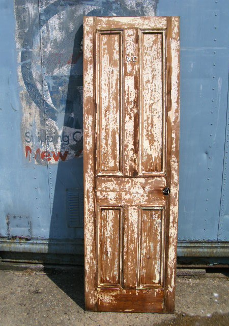 Distressed paint effect reclaimed doors