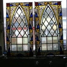Painted leaded pair of lights