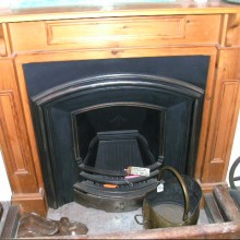 Reproduction Royal Plate insert and salvaged modern pine surround