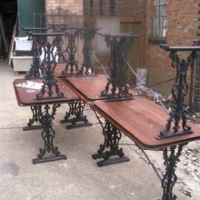 Set 8 wrought iron pub table bases