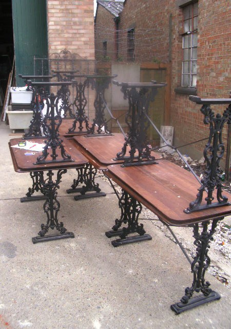 Table bases - Set 8 wrought iron pub table bases
