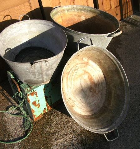 Vintage tin baths or planters