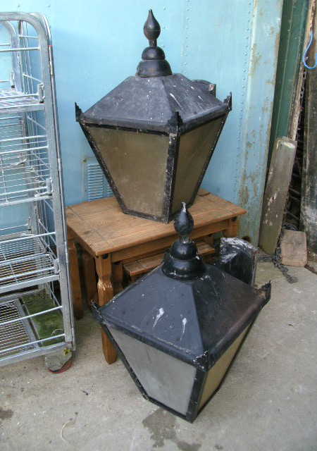 Pair lamp post tops or wall lights