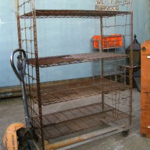 Wheeled metal shelf rack