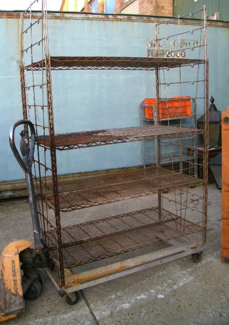 Wheeled metal shelf rack