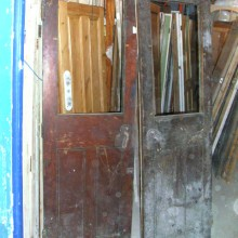 Pair pitch pine half glazed ex-cold store double doors