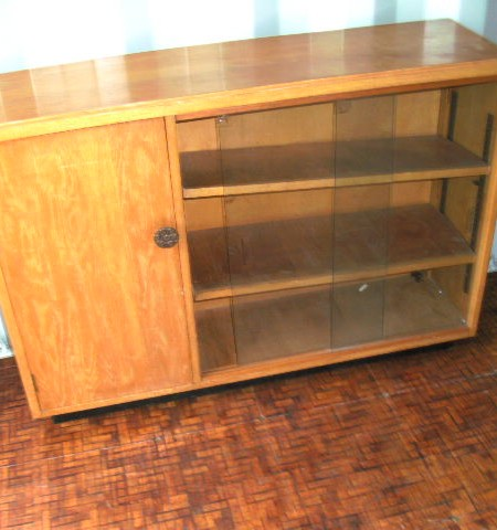 Glass fronted cupboard and shelves