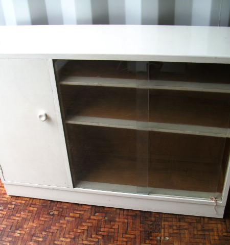Cupboard - Glass fronted cupboard and shelves