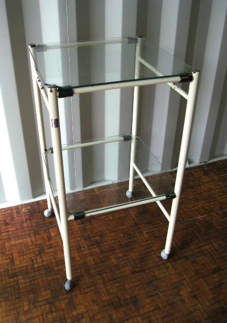 Glass trolley with shelves