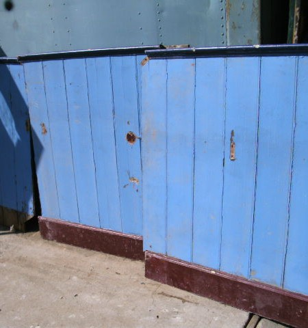 Wall panelling - Dado level painted pitch pine.