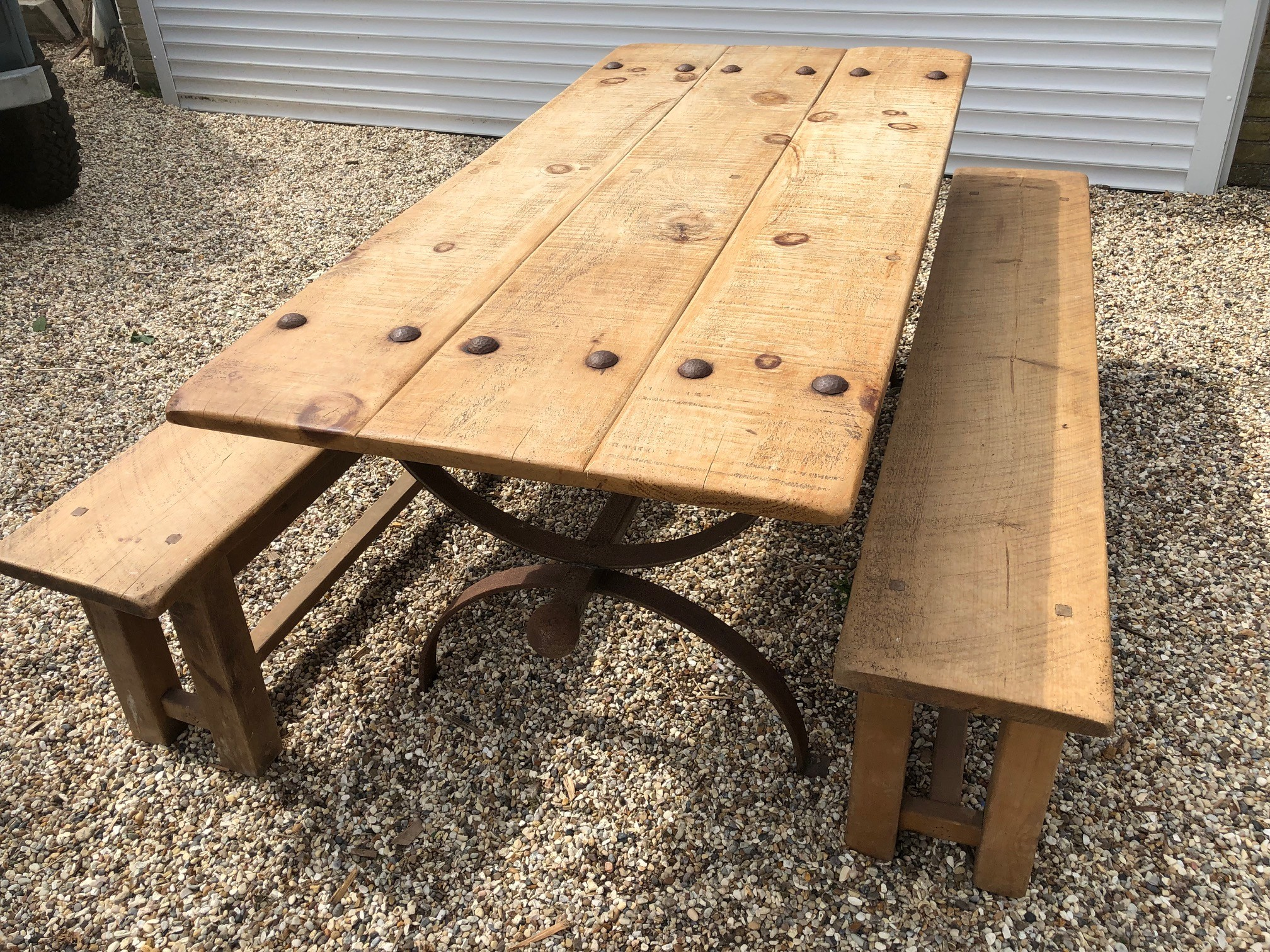 industrial styled table and benches