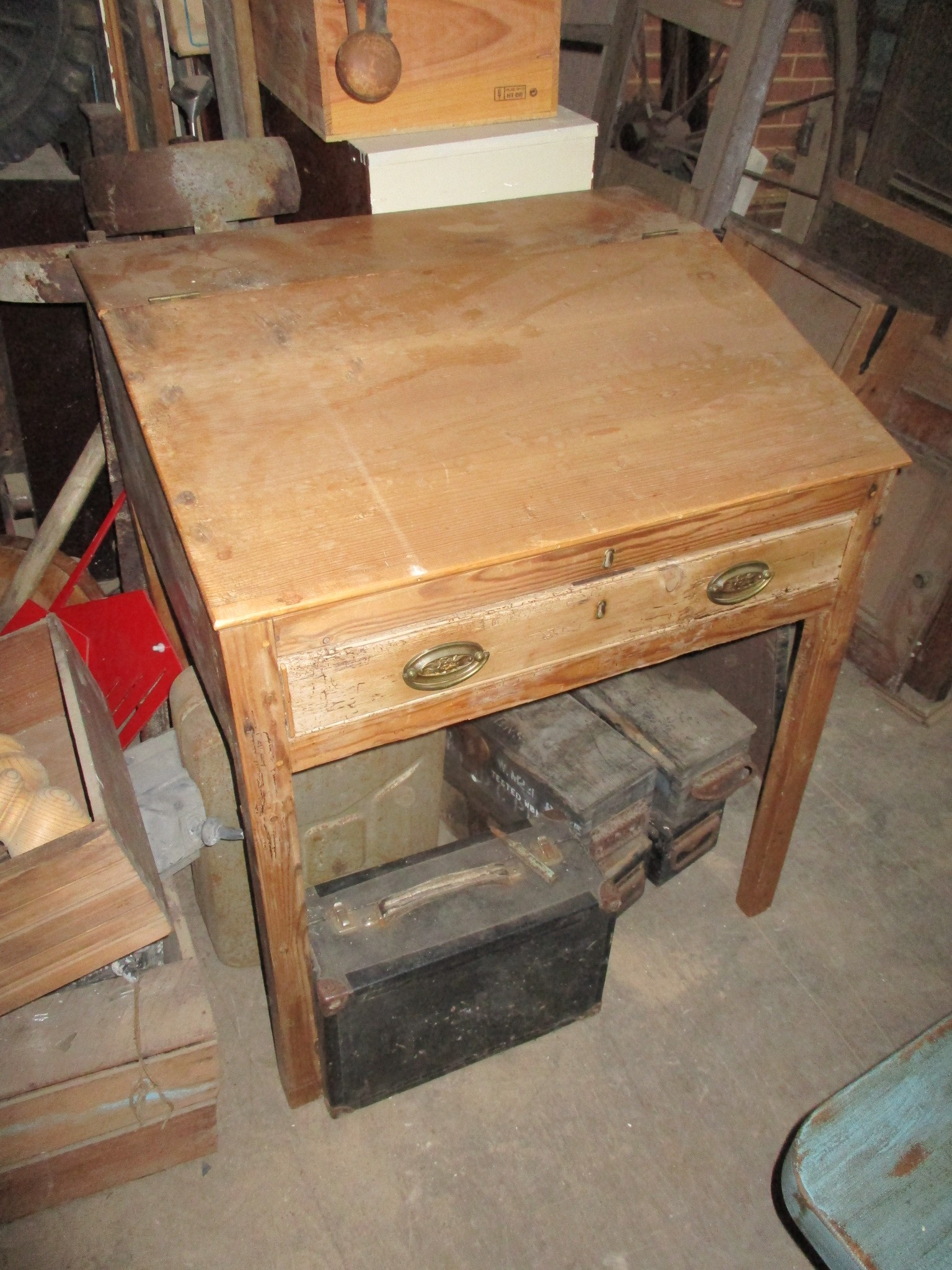 Antique pine Writing slope of small desk with drawer