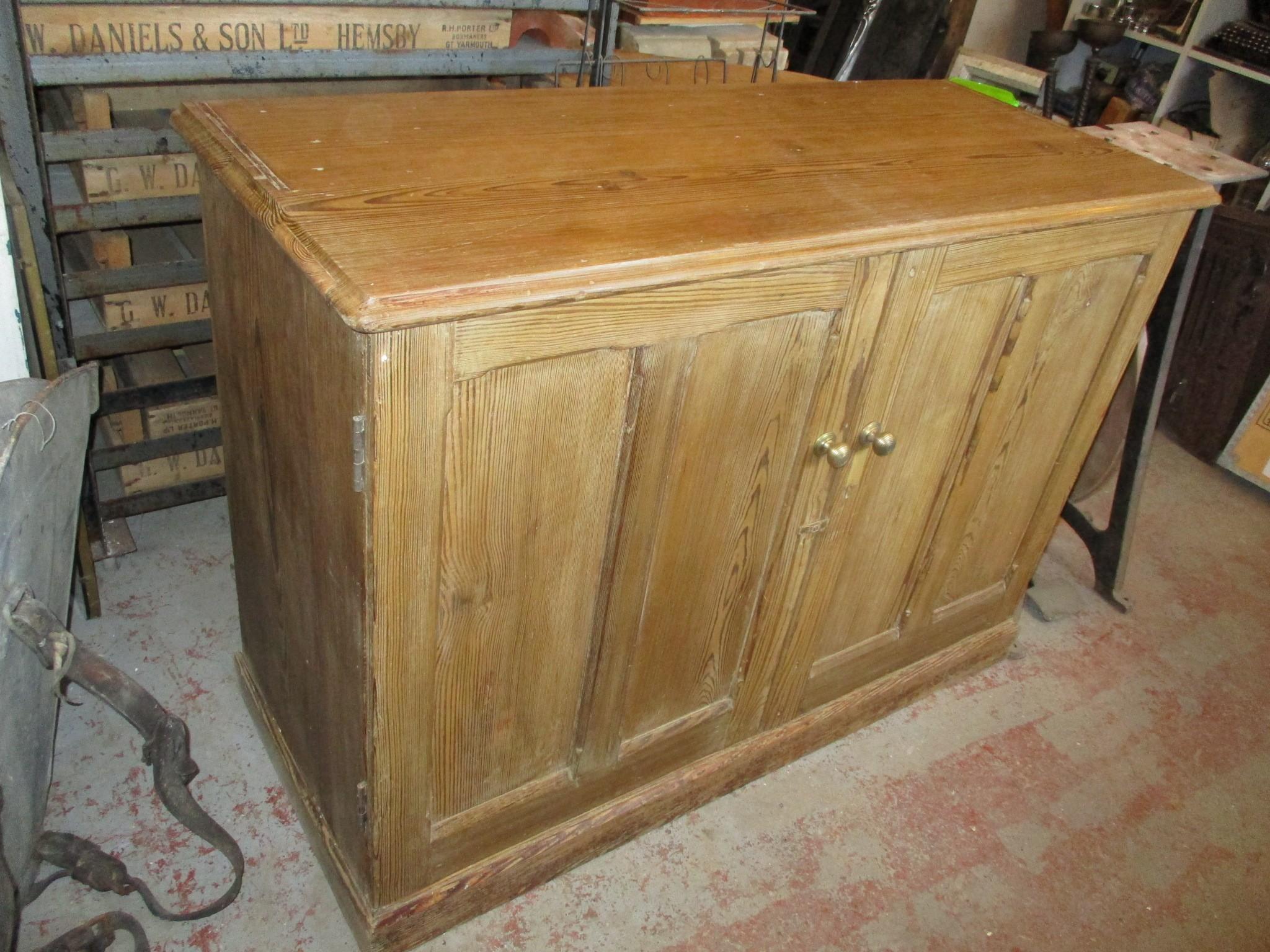 School pitch pine storage cupboard