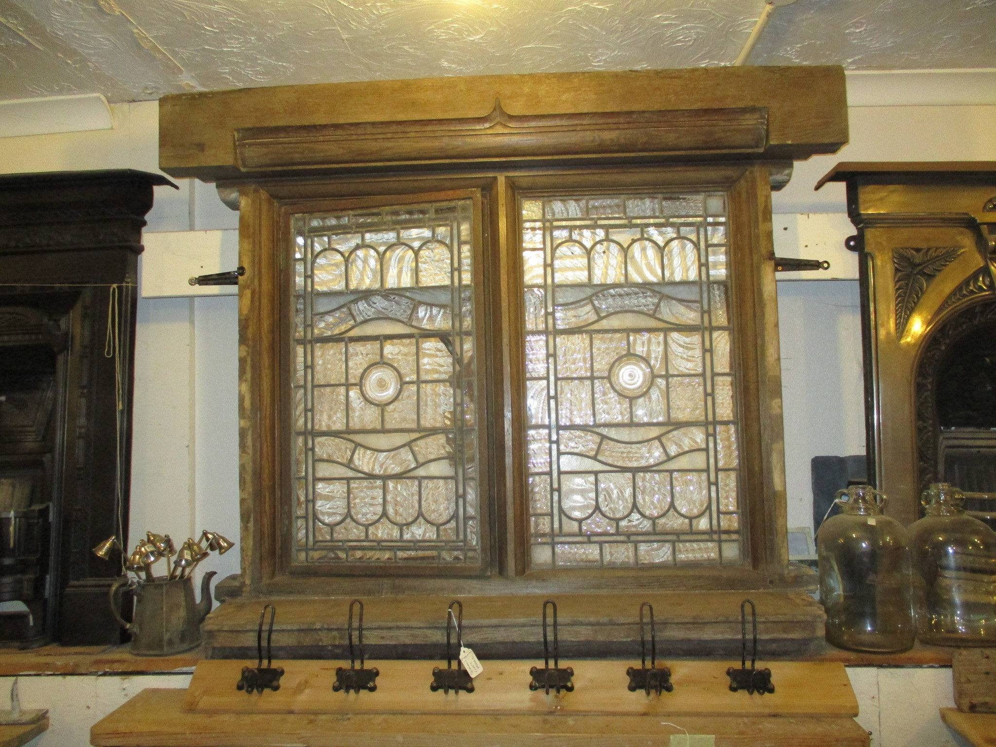 Leaded glass oak window from Bawdsey Manor