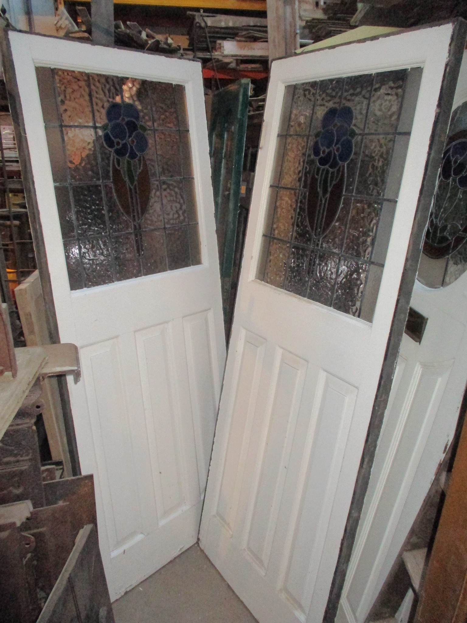 Pair coloured leaded part glazed doors