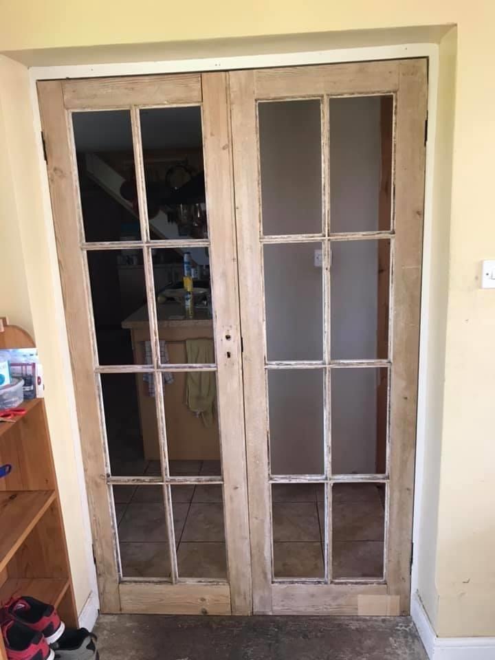 Rejuvenated pine french doors
