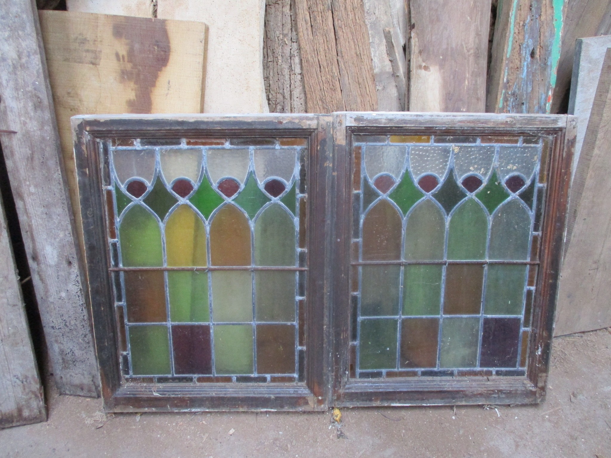 set 5 coloured and leaded casement windows 21