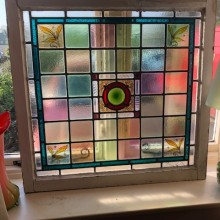 Pair of Coloured , leaded and painted casement windows 26