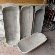 Carved rustic dough trugs or bowls
