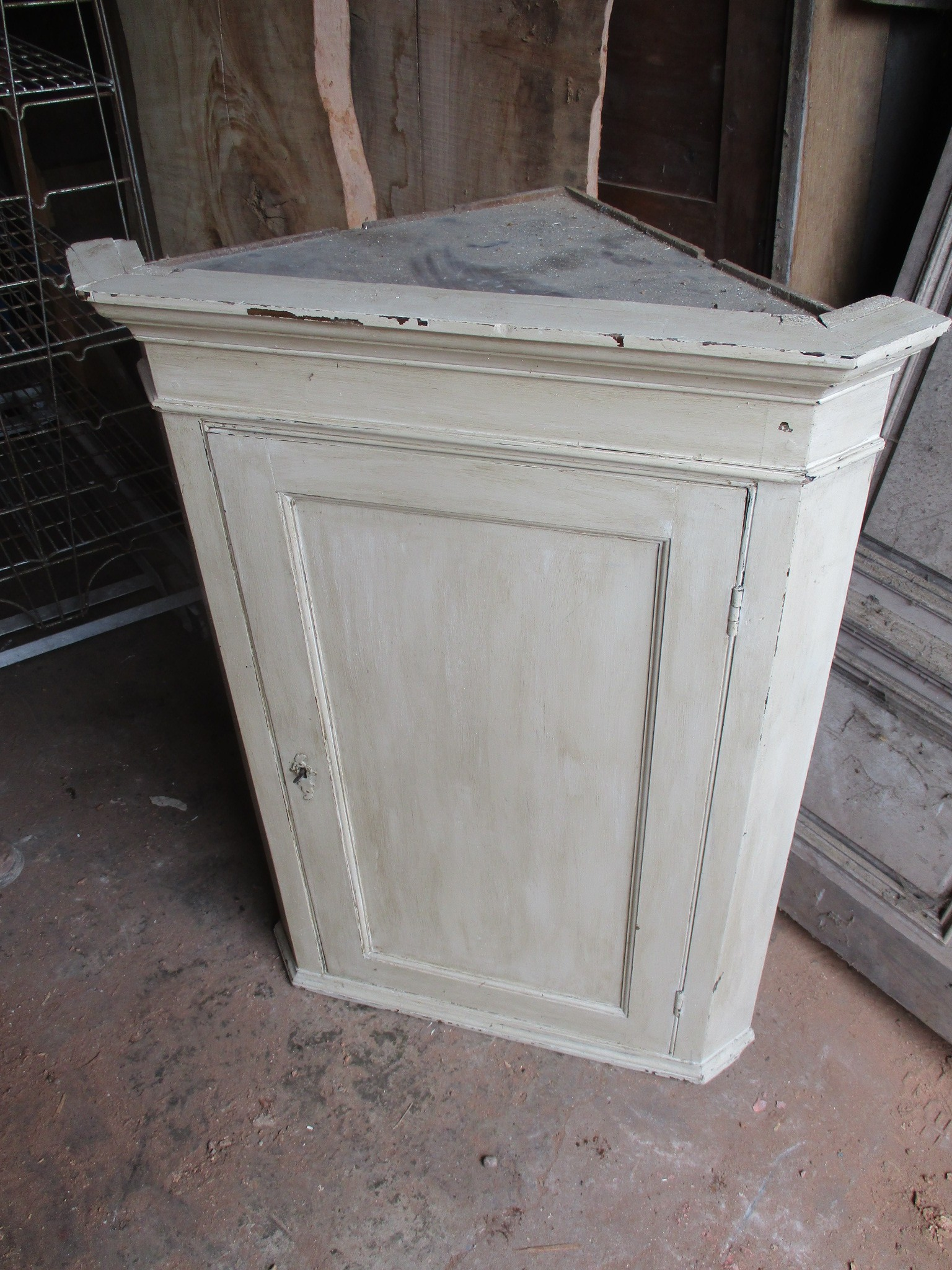 corner cabinet , painted pine 22