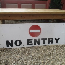 No Entry - painted sign on metal