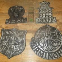 Fire Sign - vintage lead plaques