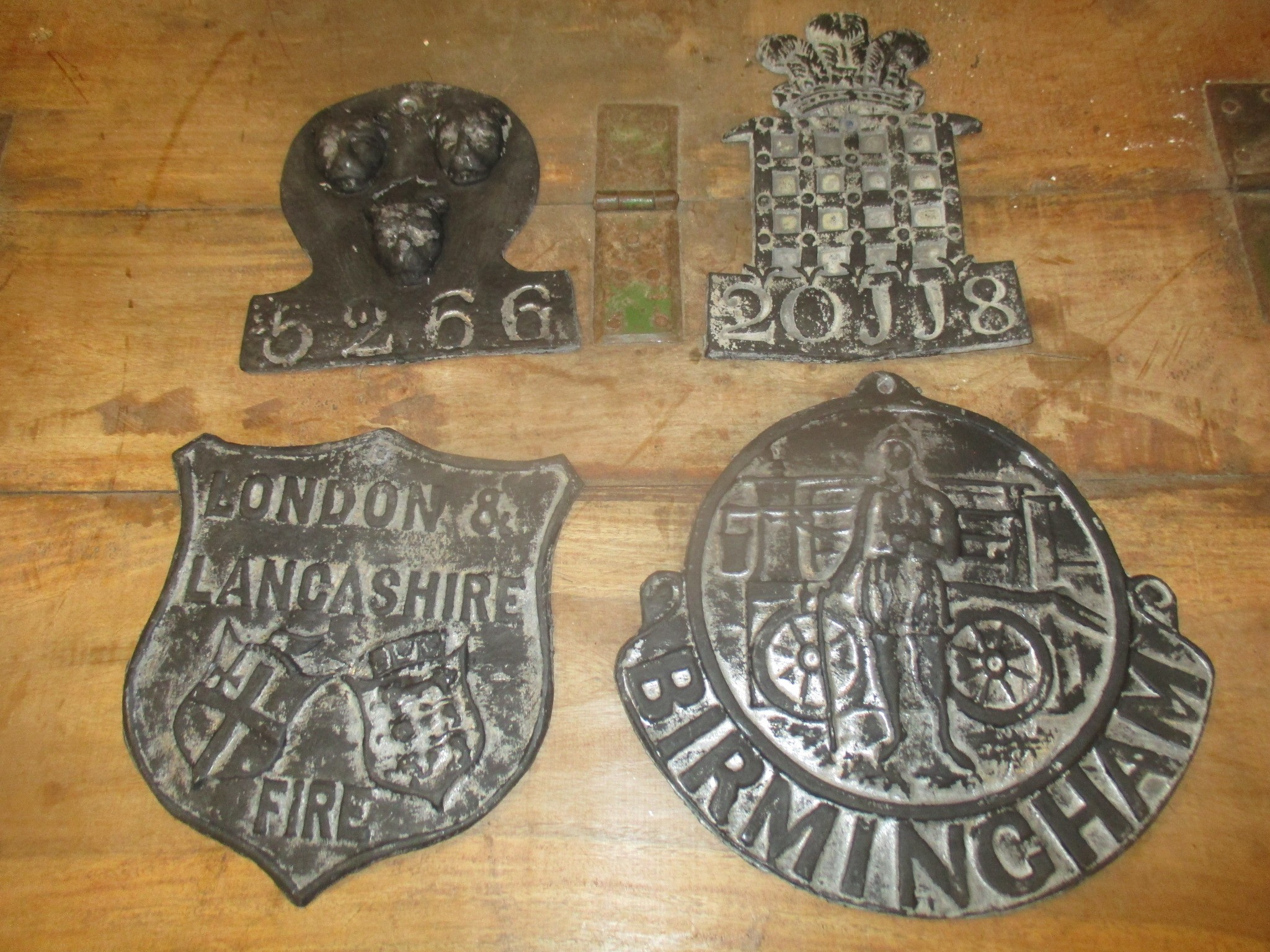 Fire Sign - vintage lead plaques