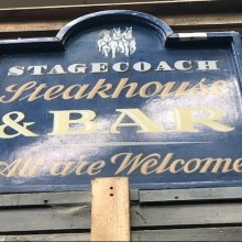 Stagecoach steakhouse and grill - hand painted onto framed plywood.