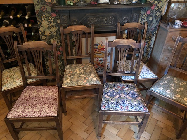 Chairs- William Morris set 6 eclectic upholstered dining chairs