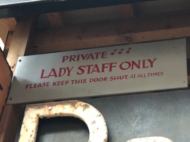 Lady Staff Only - hand painted onto wood.