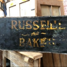 Russell Bakers antique cart signs