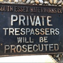 South Essex Water Trespassers Cast iron sign