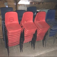 Chairs - childrens stacking coloured plastic red & blue