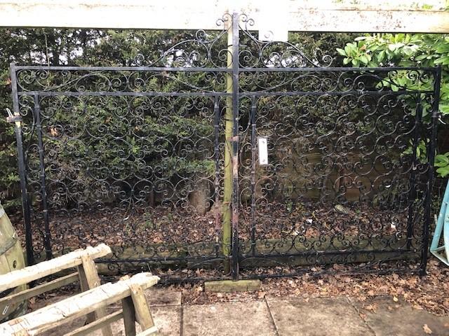Gates - strapwork wrought iron pair 10ft x 6ft.